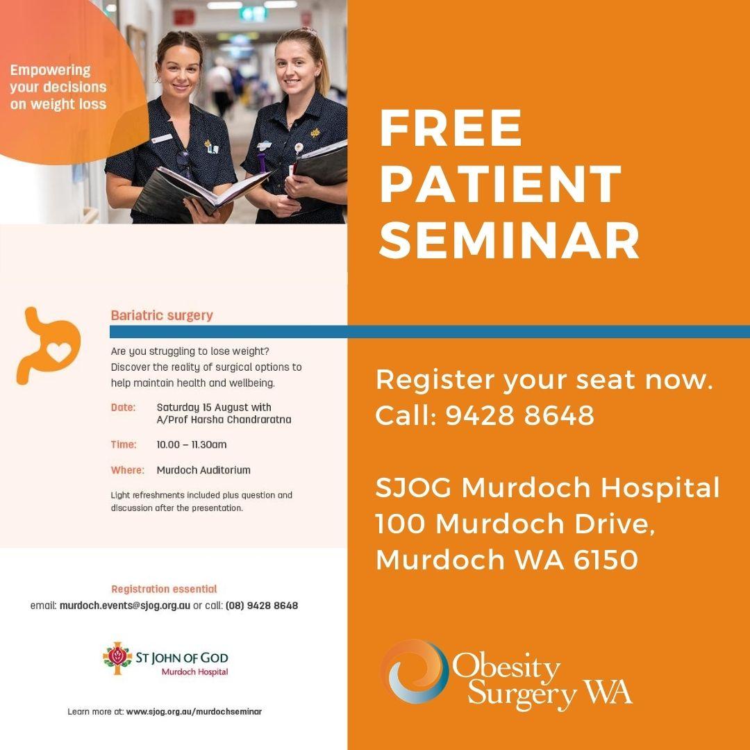free patient seminar bariatric surgery perth